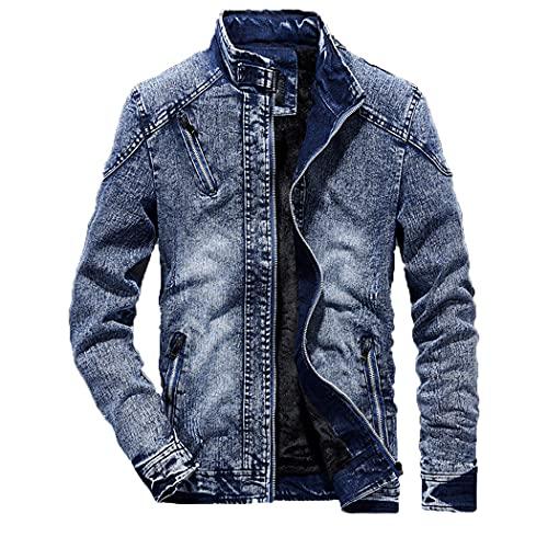 Hombres Slim Fit Color Sólido Casual Denim Chaquetas, Soporte de Moda Jeans Abrigo para Hombres, Vintage Negro Blue Cowboy Chaqueta Blue M