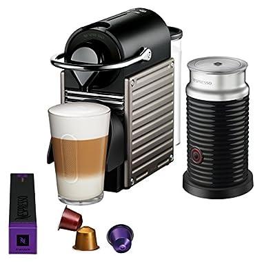 Nespresso Pixie Original Espresso Machine with Aeroccino Milk Frother Bundle by Breville, Titan