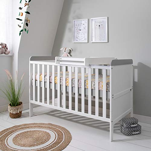 Rio Wooden Cot Bed & Cot Top Changer (Tutti Bambini) - 3 in 1 Convertible Baby Cot Bed, Toddler Bed and Matching Cot Top Baby Changer (White & Dove Grey)