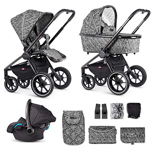 Venicci Tinum 3 in 1 Travel System Lightweight Pram and Pushchair | 12pc Bundle of Car Seat, Carrycot, Footmuff and More for Baby Smooth Riding from Birth Until 22kg - Camo Grey