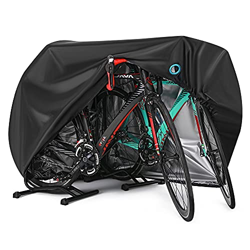 Bike Cover for 2 or 3 Bikes Outdoor Waterproof Bicycle Covers Rain Sun UV Dust Wind Proof with Lock Hole for Mountain Road Electric Bike Heavy Duty Bikes Black