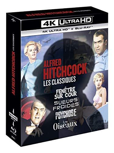 Alfred Hitchcock, Les Classiques-Coffret : Fenêtre sur Cour + Sueurs Froides + Psychose + Les Oiseaux [4K Ultra HD + Blu-Ray]