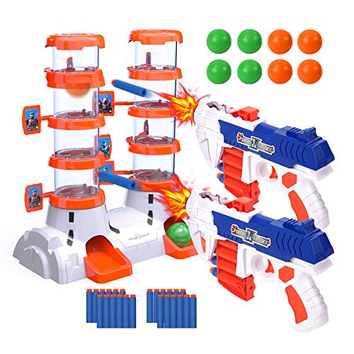 EagleStone Shooting Targets for Shooting Games, 2020 Newest Double Barrel TargetforNerf with 2 Shooting Blaster Guns, 24 Foam Darts & 8 Balls, Kids 6, 7, 8, 9, 10+ Shooting Practice for Nerf Toys