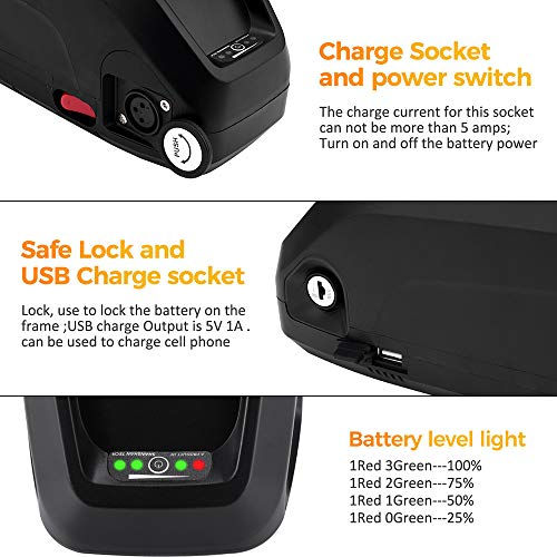 X-go Ebike Battery 48V 13AH/10AH Lithium ion Battery with Charger, USB Port, Electric Bike Battery for 500W/1000W Bike Motor Black (48V 13AH 1000W)