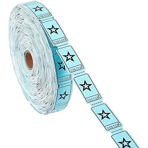 Rollo de Billetes para Rifas Juvale - Rollo único de cupones para contar hasta 2000 estrellas, en azul
