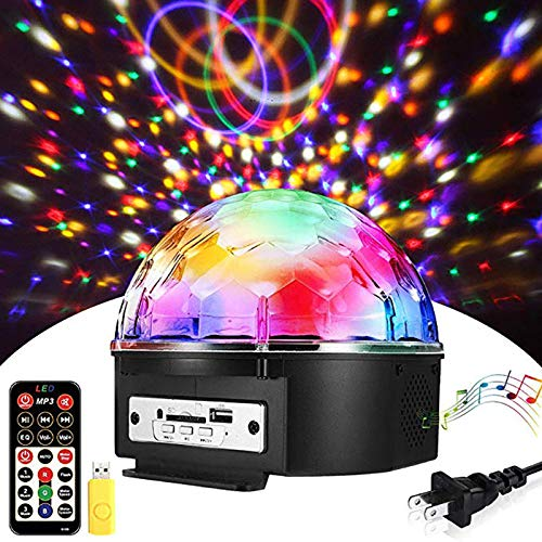 Price comparison product image BMG Sound Activated Party Lights,  with Remote Control Disco Lights Dj Lighting,  Built-In Dual Speakers 6 Colors Strobe Lamp 6 Modes Stage Par Light