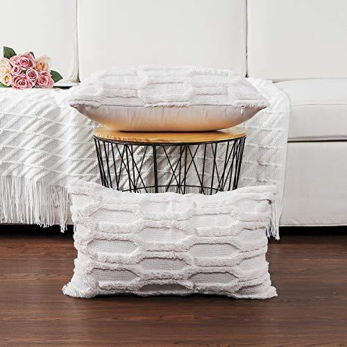 Madizz - Juego de 2 fundas de almohada decorativas de terciopelo suave de lana corta, de lujo, estilo de cojín, para sofá o recámara, Jardín, Beige crema, 12'x20', 1