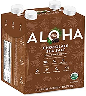 ALOHA Organic Plant Based Chocolate Sea Salt Protein Shake with MCT Oil (4 Count, 11oz) 18g Protein Low Sugar, Gluten Free...