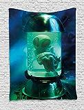 Tapiz del Espacio Exterior OVNI Marciano Alien en un Acuario como Imagen de Arte de Tubo para Dormitorio 150x110cm
