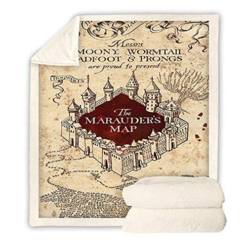 WLYX Mantas para el hogar Sofá de la Manta, Manta Harry Potter Impresión Digital, Shu Terciopelo de algodón de Doble Capa Gruesa Siesta Manta (Color : #-7, Size : 150 * 200CM)