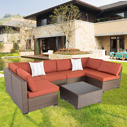 Outdoor Sectional Furniture Wicker Patio Deck Sofa Couch with Tea Table for Patio Garden Deck Outdoor Porch