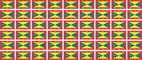 Mini Aufkleber Set - Pack glatt - 20x12mm - Sticker - Fahne - Grenada - Flagge - Banner - Standarte fürs Auto, Büro, zu Hause & die Schule - 54 Stück