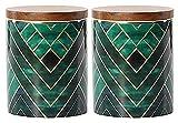DWhui Bote de café Té Caddy Tarrar Jar Ceramic Billers, frascos sellados creativos para Caramelos de azúcar Especias geométricas con Adornos de Tapa Estilo nórdico Verde 2 PCS