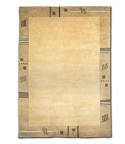 Morgenland Nepal LOWEO Teppich Beige Einfarbig Bordüre Schurwolle Handgeknüpft 240 x 170 cm