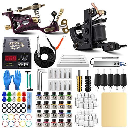 ITATOO Rotary Tattoo Machine Kit for Beginners Tattoo Power Supply Kit 20 Tattoo Inks 50 Tattoo Needles Complete Tattoo Kit Tattoo Supplies TK1000005