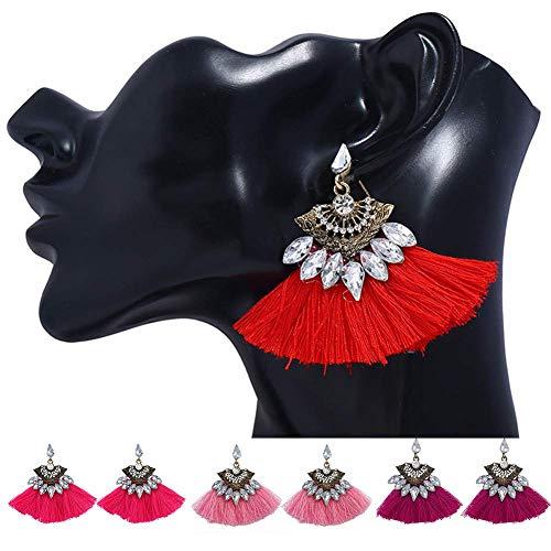 Cremación Memorial Boho en abanico de la borla de regalo de la joyería de las mujeres del Rhinestone cuelga los pendientes del partido colorido, Nombre de color: Rojo Cremation Jewelry Collar con Colg
