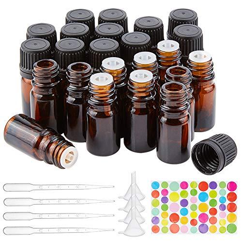 BENECREAT 24 Pack 5ml Botella de Vidrio Ámbar con Reductor de Orificio Botella Vacía de Aceite Esencial con Tapa Antideslizante, 10PCS Pipetas, 4PCS Embudos para Aromaterapia