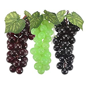 SENREAL Artificial Grapes 6 Bunches Fake Grapes Rubber Lifelike Grapes Clusters Artificial Fruit for Home Kitchen Party Wedding Decoration Photography Prop