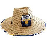 Corona Extra Men's Straw Beach, Large Lifeguard Hat, Yellow, Blue and White Lined Brim, Brown, One Size