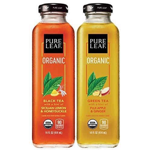 of popular iced tea brands Pure Leaf, Organic Iced Tea, 2 Flavor Variety Pack, 14oz Bottles (Pack of 8)