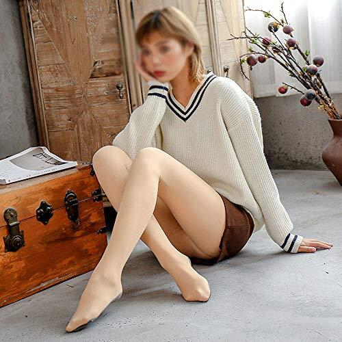 XYBJP Wintergamaschen, weibliche Herbst-Winter-Nacktheit Plus samtige Dicke Strümpfe, übernatürliches Stealth-Artefakt mit nackten Beinen,FairSkin-ThinVelvet200g