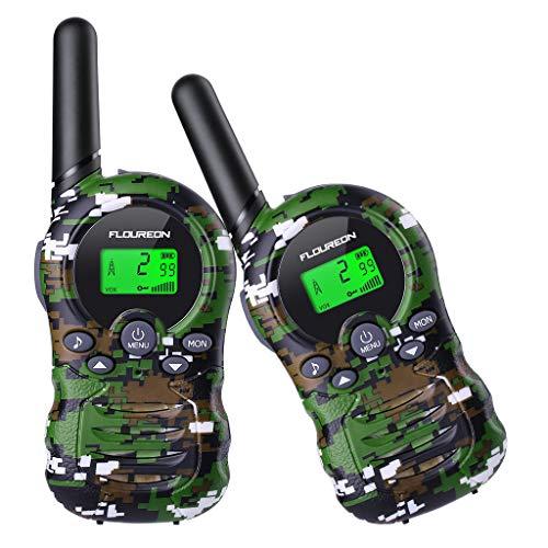FLOUREON Walkie Talkies 8 Canales Radio PMR446 Interfaz de Mano para Aventuras al Aire Libre Equitación Excursionismo Cámping(Camuflaje Verde, 1Par)