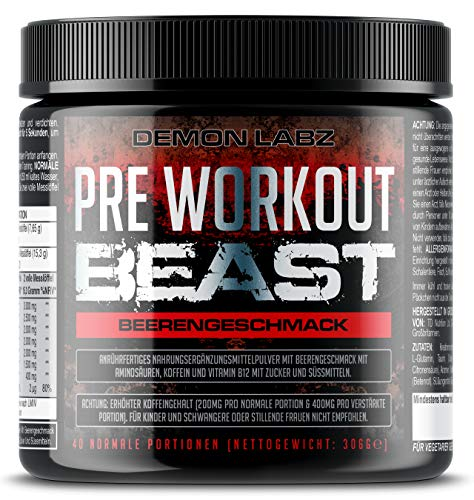 Pre Workout Beast - Pre Workout Booster mit Vitamin B12 was zur Verringerung von Müdigkeit & Ermüdung beiträgt - Mit Koffein, Beta Alanin und Glutamin (Beerengeschmack - 306g - 40 Portionen)