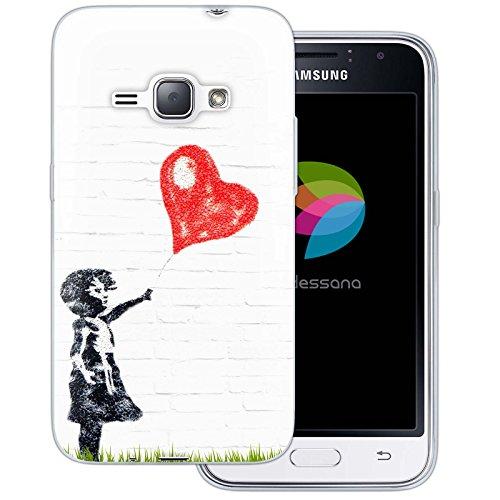 dessana Streetart transparante siliconen TPU beschermhoes0,7 mm dunne mobiele telefoon soft case cover tas voor Samsung Galaxy A J, Samsung Galaxy J1 (2016), Meisje met ballon
