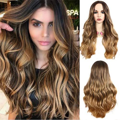Peluca de pelo sintético de fibra de color rubio ondulado natural de 130% de densidad, ondulada y resistente al calor, para mujeres negras, uso diario