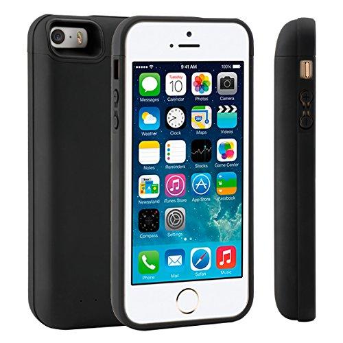 LifeePro iPhone 5 5S SE Akku Hülle 4000mAh Dünn Externe AkkuCase Aufladbar Batterie Ladehülle Integrierten Ersatzakku Ladegerät Power Bank Backup Extra Pack Schutzhülle für iPhone 5 5S SE Schwarz
