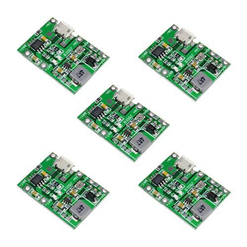 ZHITING 5Pcs 2A USB 18650 Módulo de Cargador de batería de Iones de Litio de Litio Boost 3.7V a 5V 9V 12V