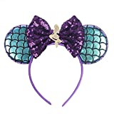 YanJie Mermaid Mouse Ears Headbands, Glitter Party Favor Decoration Birthday Party Cosplay Costume for Girls Party (Mermaid Double)