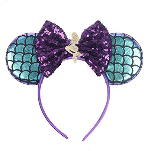 YanJie Mouse Ears Headbands, Glitter Party Favor Decoration Cosplay Costume for Children & Adults (Mermaid Double)
