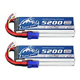 YOWOO 2 PCS Lipo Battery 4S 14.8V 5200mAh 60C with EC5 Connector RC Battery for RC Evader BX Car Truck Truggy Arrma Kraton Nero Tyhpon Senton Tailon Outcast FAZON