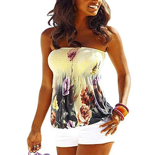 Women Sexy Floral Print Tube Top Bra Style Elastic Boho Tank Top Shirt Flowy Strapless Shirts (L)
