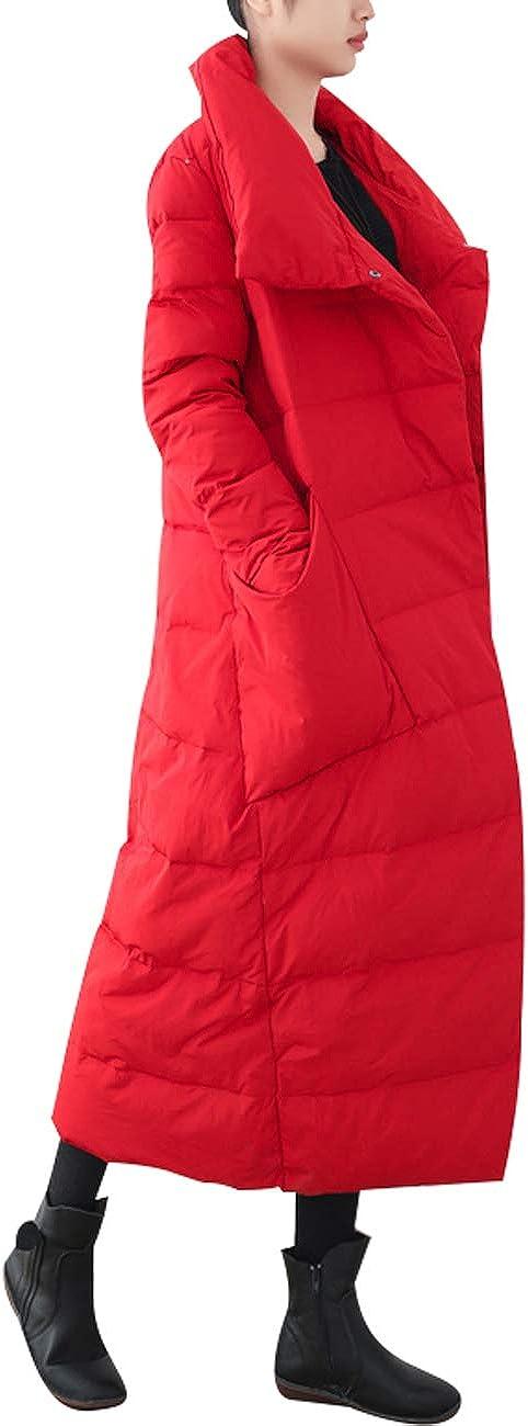 Youlee Damen Winter Warm Langer Mantel Daunenjacken Langarm Mantel Stil 3 Rot