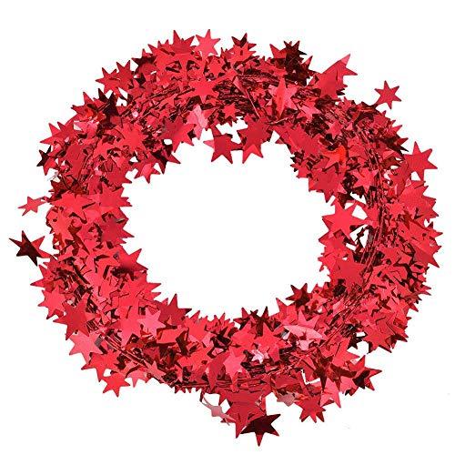 Agatige 24.5 Ft Star Tinsel Garland, 3Pcs Tinsel Christmas Tree Garland Wedding Birthday Party Decoration Ornament(Red)
