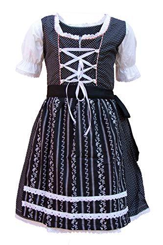 MS-Trachten Kinder Dirndl Trachtenkleid Lotti schwarz-weiß Punkte, Schwarz, 152