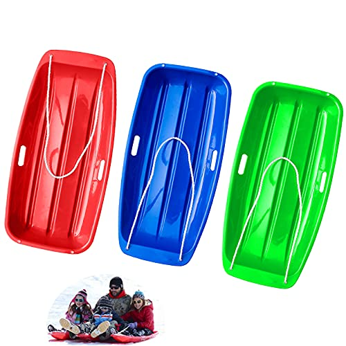 noproto Snow Sled, Plastic Flexible Flyer Snow Sled for Kids and Adults (red-Blue-Green)