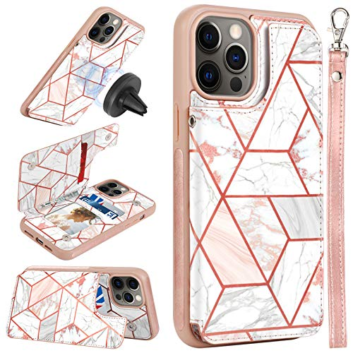 CASEOWL Case Compatible with iPhone 12 Pro Max Wallet Case [Support Magnetic Car Mount] with Card Holder, RFID Blocking, Kickstand, Wrist Strap, Marble Pattern Leather Lanyard Wallet Case, Marble