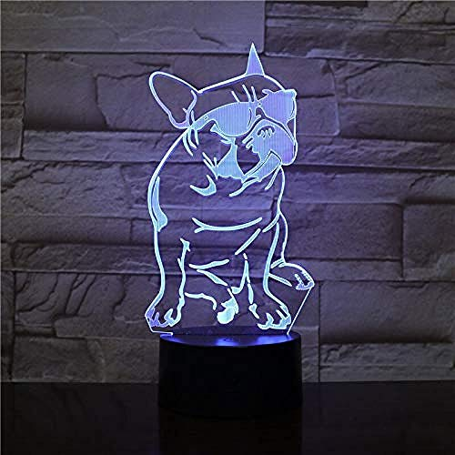 Lindo perro con forma de gafas 3D lámpara de mesa de control táctil 7 colores que cambian de acrílico luz nocturna USB decorativo niños regalos de control remoto regalo