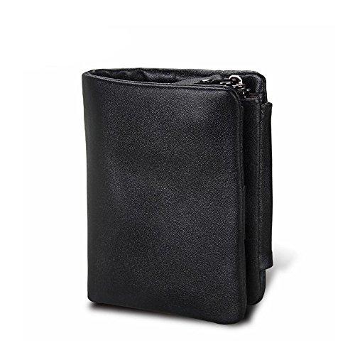 MIMIOOORE Monedero masculino, minimalista de cuero de vaca de la vendimia Monedero de cuero con bolsillo con cremallera (Color : Black)