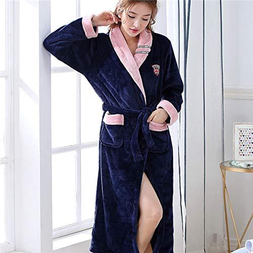 HUANSUN Invierno Grueso cálido Mujer Coral Polar Kimono Bata Amantes Pareja camisón Bata de baño Ropa de Dormir Hombres Ropa de Dormir Grande ML XL XXL 3XL, Mujeres 3, XL