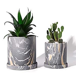 POTEY Ceramic Flower Plants Pots Planter – 3.8 Inch + 5.1 Inch Marble Container Drainage with Sacuer Indoor Herb Garden Bonsai Planting – Set of 2 (Gray)