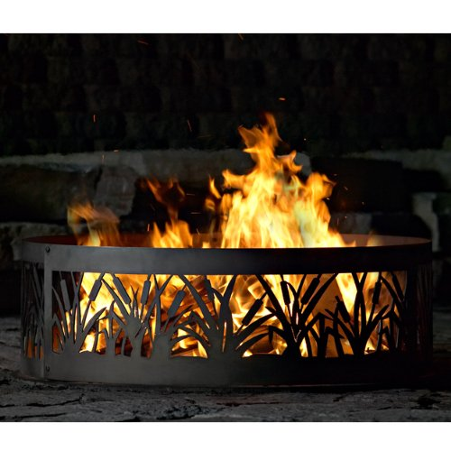 Fire Ring Fire Pit - PD Metal CFR00948 - Cattail Fire Ring - 48 Inch - Black