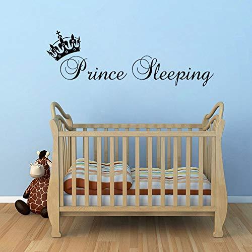 Adhesivo decorativo para pared con corona, diseño de príncipe que duerme con cita para niños, decoración de dormitorio de bebé, papel pintado extraíble, 57 x 20 cm