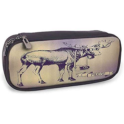 Bolso Lápiz Alce Hipster Ciervo Con Sombras Gafas De Sol Y Cámara Diseño Vintage Ombre Arte Animal Divertido Púrpura Beige