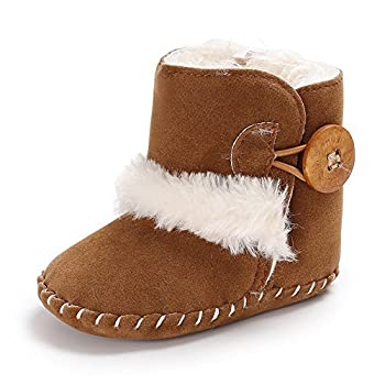 Isbasic Infant Baby Buttons Snow Boots Anti-Skid Rubber Sole for Toddler Boys Girls Winter Warm Crib Shoes  0-6 Months A/Brown