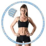 Muenfly Hula Hoop - Pneumatico per adulti da 1,2 kg, per fitness, fitness, allenamento, sport, palestra, hola hoop (blu e bianco)