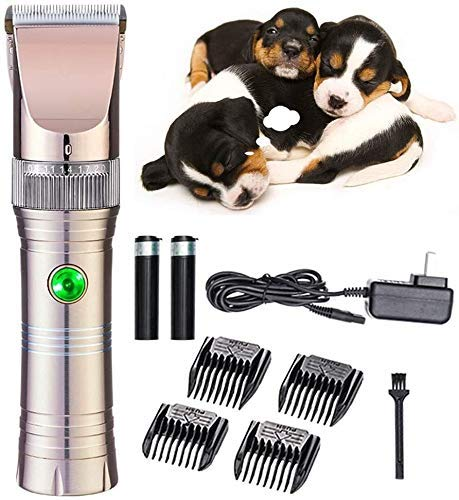 Tijeras del corte del pelo de perro Clippers de herramientas, IR Clippers Clippers Peluquería Canina, mascotas máquina de afeitar de la preparación del perro con 4 Peine, Tijeras eléctricas del gato f